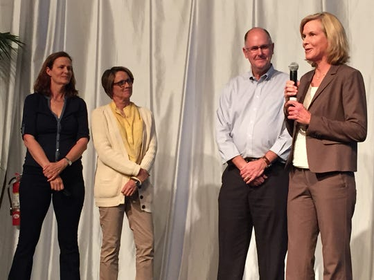 From left, former tennis pros Pam Shriver and Mary Carillo, WTA CEO Steve Simon and longtime WTA board member Lisa Grattan at the WTA players and friends reunion held Saturday, March 12, 2016 at the Indian Wells Tennis Garden.