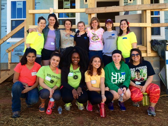 "Asheville Area Habitat ""alternative spring break"" volunteers from Lesley University."
