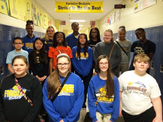 Farnsley Middle School students who wrote editorials included: Back Row: Chenille Wright, Cassidy Ashby, Jaelen Leavell, Mariah Talley, Tyia Carnell Middle Row: Jose Ojea Pita, Bowee Chang, Abrianna Holt, Courtly Nguyen, Makenzie Tyrrell, Marius Hinneh Front Row: Maya Carby, Tessa Carby, Raegan Vanarsdale, Robert Beeler.