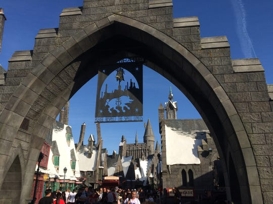 The entrance to the Wizarding World of Harry Potter
