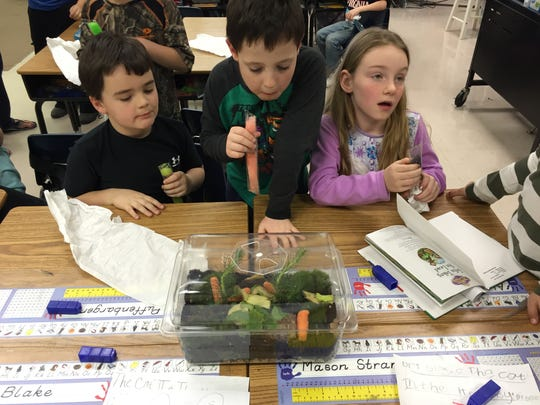 First grade students Jacob Puffenbarger (left), William Coiner and Alexis Redifer eat popsicles while talking about their terrariums that hold millipedes and roly-poly bugs.