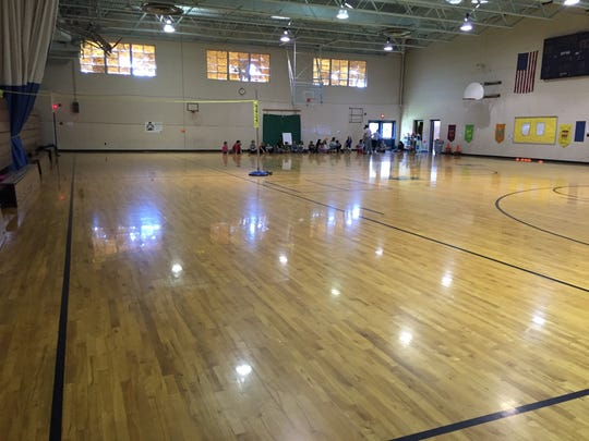 Because it used to be a high school, Beverley Manor Elementary School has a full-size gym, which allows excites families when they come to visit.