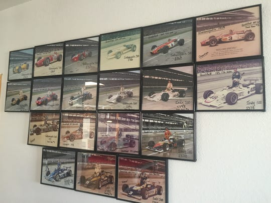 The story of Bobby Unser's Indianapolis 500 starts are presented in a wall of photographs from each qualifying session.