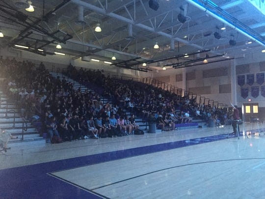 Students at Shadow Hills High School attended an anti-bullying assembly Wednesday following an incident last month in which a dozen students wore anti-gay badges on campus.
