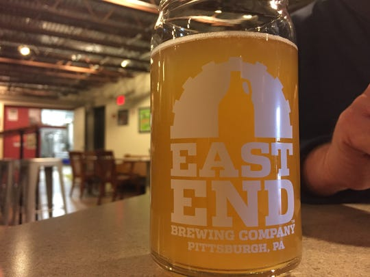 A pint of East End Brewing's Monkey Boy hefeweizen at the one of the original Pittsburgh craft breweries.