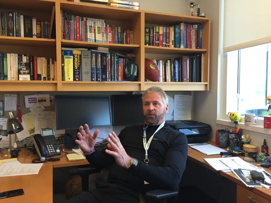 David Paulk in his office at Mary Baldwin College's Murphy Deming College of Health Sciences.