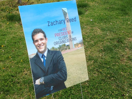A campaign sign for Zachary Reed, who was elected student