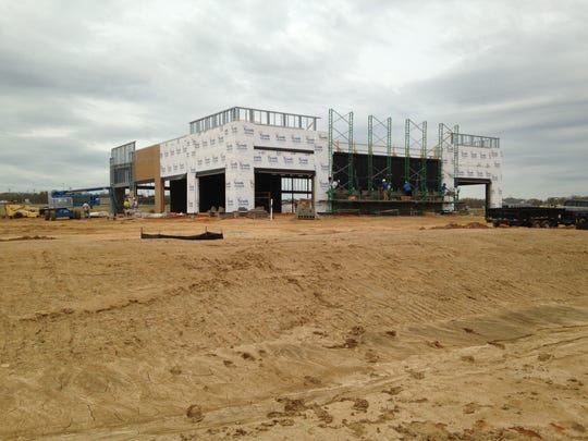 Construction continues on this 10,000-square-foot building in Thomsen Farms.