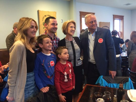 Former presidential candidate Carly Fiorina poses for a photo with Creamery owner Patrick Hoffman and family.