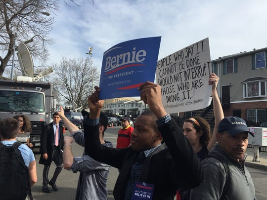 Bernie Sanders supporters rally in the Bronx, Thursday evening.