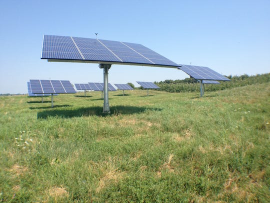 Solar trackers at Champlain Orchards in Shoreham and