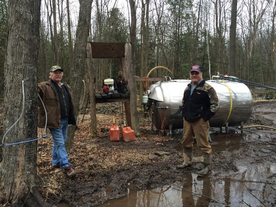 Ken and Ed Staats out in the middle of their sap operation, where a bulk tank and vacuum pump are pulling sap for them to collect and later cook.