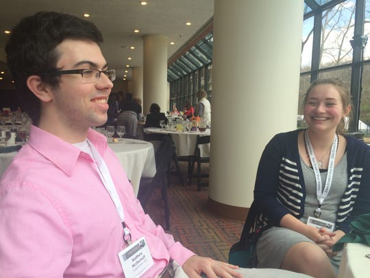 Matthew McDermott of Hagerstown, Maryland, and Lauren Vanderhorst of Sidney were born in 1996, a few months before Bombeck died. The University of Dayton students were attending the workshop on scholarship, hoping to make contacts.