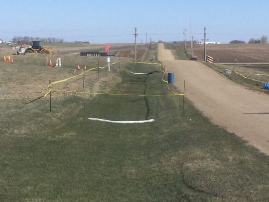 A TransCanada crew is doing preliminary work at the
