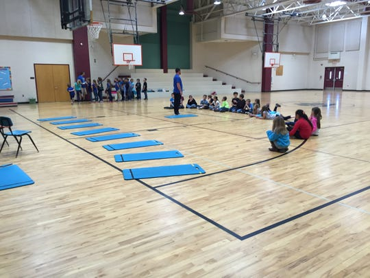 SDES has a full-sized gym that also serves as a place for assemblies and performances. Students attend physical education class every few days.