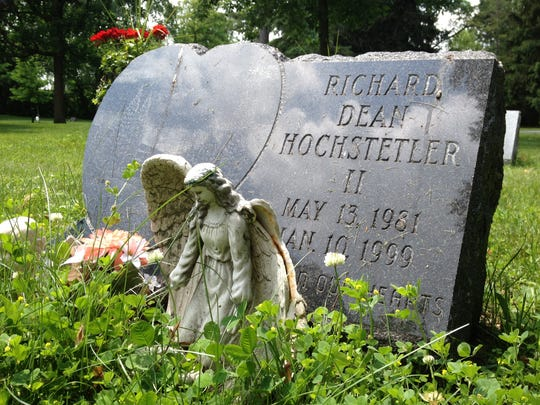 Richard Dean Hochstetler's gravesite at Evergreen Cemetery in Manitowoc. Richard was killed at the age of 17 by a vehicle in a pedestrian hit-and-run crash in 1999 and the case has never been solved.