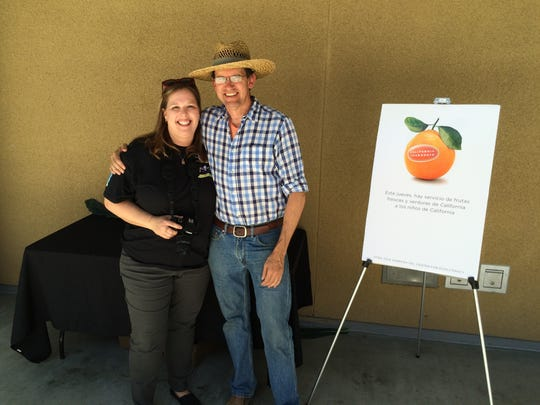 """Stephanie Bruce, Palm Springs Unified's director of nutrition services, and """"Farmer Bob"""" Knight of Redlands."""