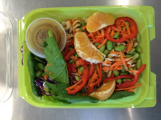 Pasta salad served during a recent California Thursdays meal at Painted Hills Middle School.