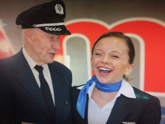 Andy Anderson and granddaughter Katie Anderson share a moment after her March 25 pinning ceremony in Fort Worth, Texas.