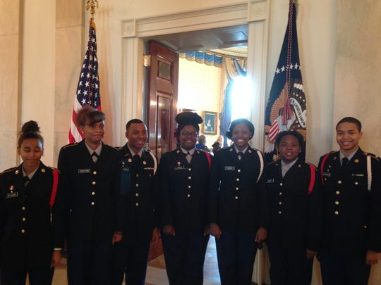 Makayla Williams, Keionna Cheatham,Jakendrick FPHA Jr. ROTC Cadets at White House: Beaudion, Kalisia Owens, Malisia Owens, Yasmine Davis,  Johntra Alwxander