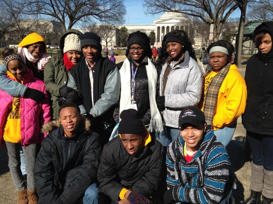 Fair Park High School ROTC students go to Washington, D.C.: Jarvis Horton, Rickey Haley, Johntra Alexander (front row) and   Makayla Williams, Sedithwam Thomas, Carrie Ware, Jakendrick Beaudion, Kalisia Owens, Malisia Owens, Yasmain Davis, Keionna Cheatham (second row).