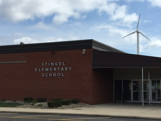 One of the Ontario school district's two wind turbines. Ontario is the only Richland County district using that form of renewable energy.