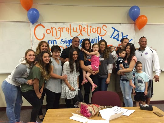 Pine View's Tayvia Ah'Quin signed her Letter of Intent to play basketball at Snow College on Friday.  The 5-foot-10 forward led the Panthers in scoring (12.3), rebounds (7.7) and assists (2.1) per game this past season.