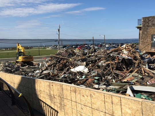 The fire at 43 West Front Street in Keyport left this rubble pile.