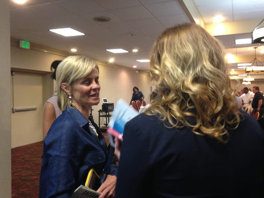 Baylor coach Kim Mulkey speaks with Amy Bullock following a human resources conference in Shreveport on Tuesday.