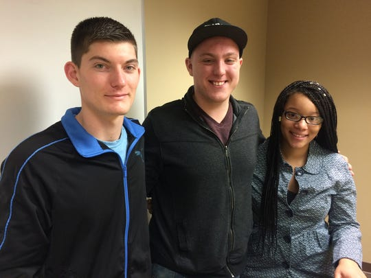 Officers in the Northcentral Technical College's Student Government Association — Brett Michels (left), Alex Gelina and Bessie McGee — pose for a photo Monday on campus.