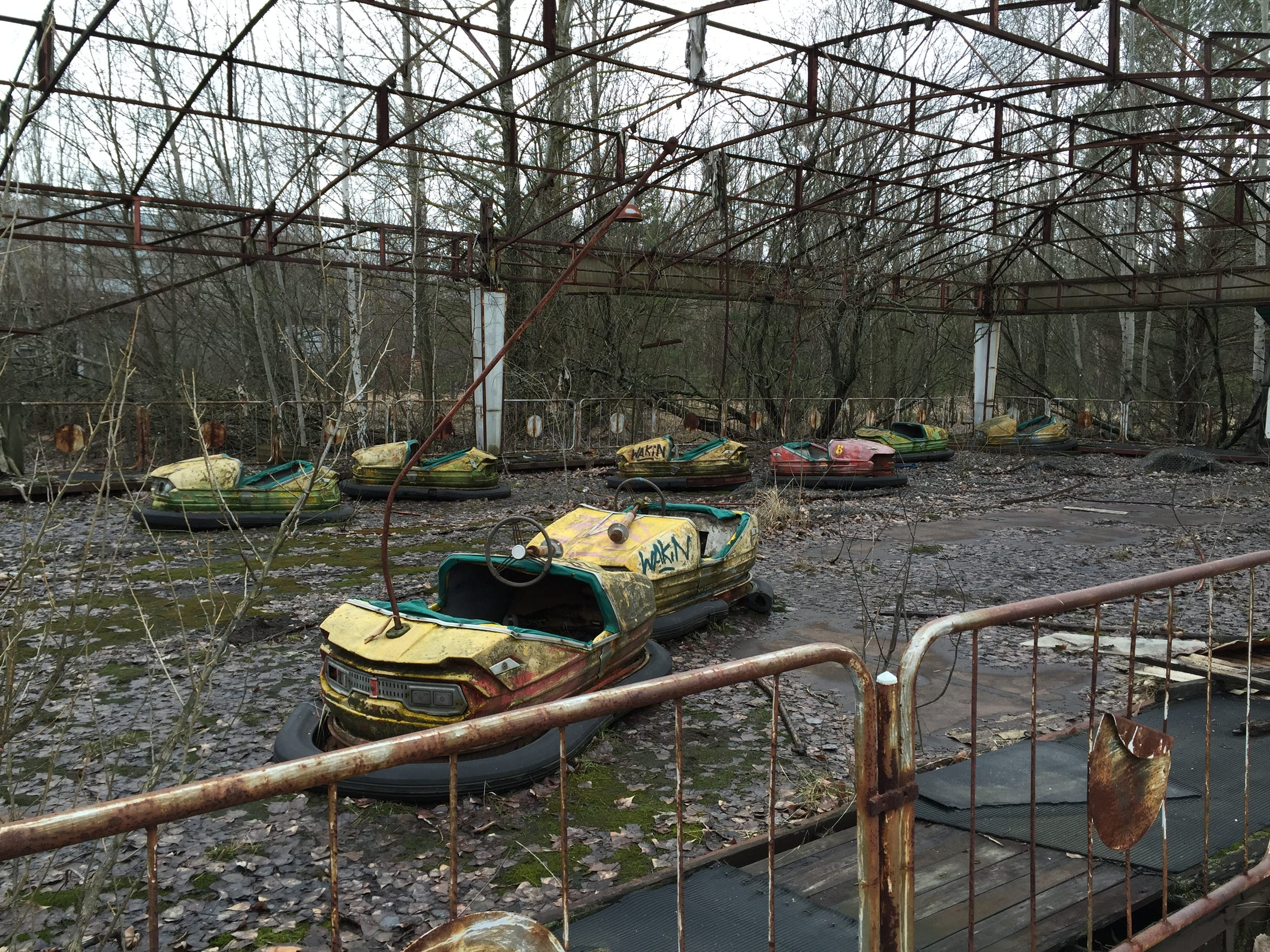 Rusting bumper cars that were part of an amusement park that was slated to open a few days after the Chernobyl nuclear disaster on April 26, 1986, are seen in the Exclusion Zone on March 2, 2016.