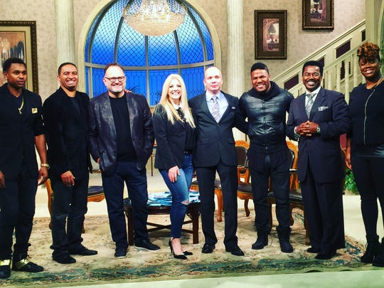 (Left to right) Joshua Jackson, Pastor Matthew Bismark, Marcos Witt (five time Latin Grammy winner), Cindy Cruse Ratcliff (Lakewood Church Worship Leader), Anders Ordander (United Bible Societies Digital Marketing Officer, Sweden), Billy Dorsey, Dr. Beau Williams (Dove Award winner) and Shana Dorsey visit TBN Christian television station.