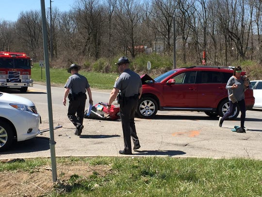 The scene of a crash at Lex-Springmill Road and West Hanley Road that left two people injured Friday afternoon.
