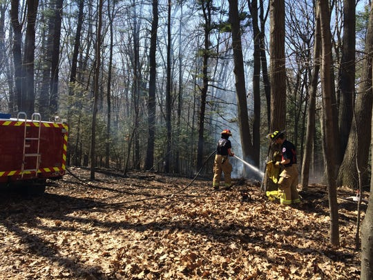Firefighters in South Burlington at the scene of a