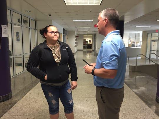 Sophomore student Sara Clinedinst talks to Waynesboro