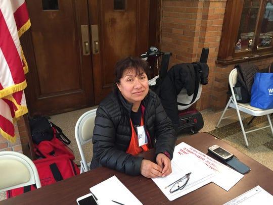 Poll inspector Gladys Najara at the Rochambeau School