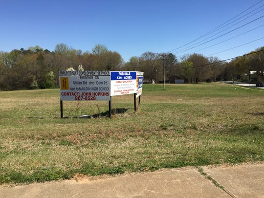 This vacant land at the corner of Corn and Miller roads has been approved for annexation into Mauldin and rezoning to allow for the construction of a townhouse community.