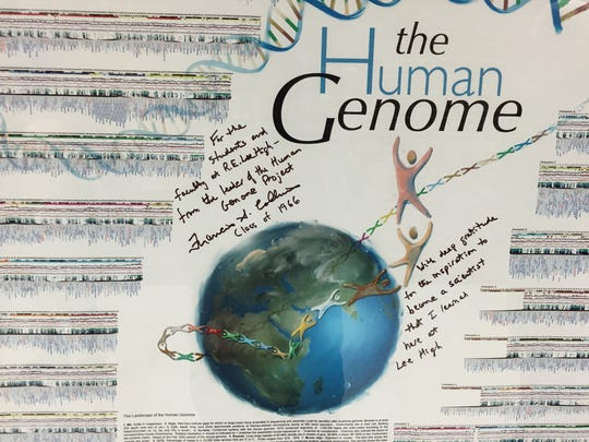 A few years ago, Francis Collins was the graduation speaker at Robert E. Lee High School. Collins is the person who mapped the human genome. He gave the school this illustration of the human genome with a message for students.