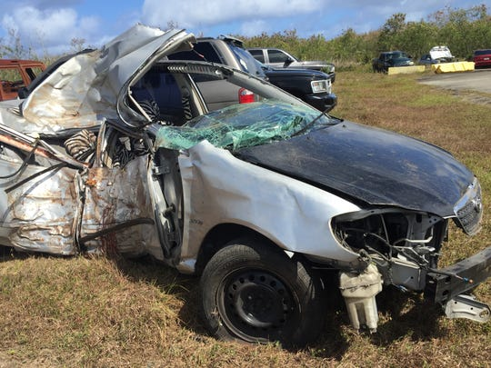 The driver of this silver Toyota Corolla died Thursday morning after the car ran off Tun Leon Road in Agat and struck a tree. The car was impounded at the Guam Police Department's evidence yard in Tiyan.