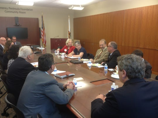 The UC president met with educators from Monterey, Santa Cruz and Santa Barbara counties at Hartnell College on Thursday.