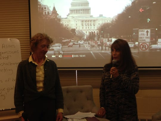 """Jane Parker, county supervisor for District 4, was a guest speaker in Anne Sanchez's, right, """"Women in Politics in Film"""" class."""