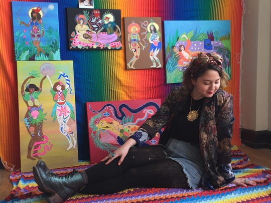 AIR Meagan Boyd is painting a mural at Gallery 408 in Carrizozo during her residency.