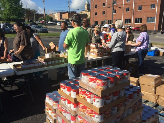 Springfield's United Ministries distributes food.