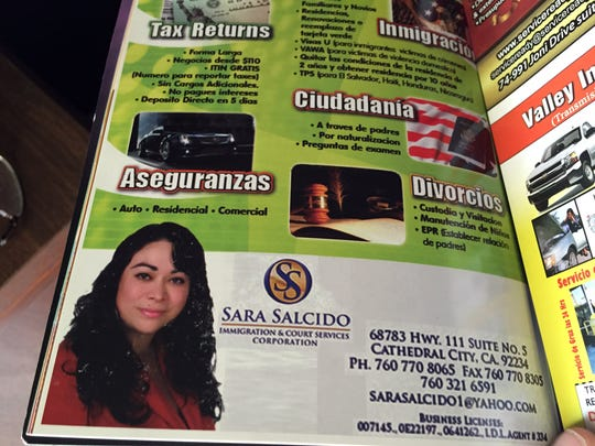 In Spanish-language classifieds, Sara Salcido offered immigration and citizenship services. She was not a registered immigration consultant.