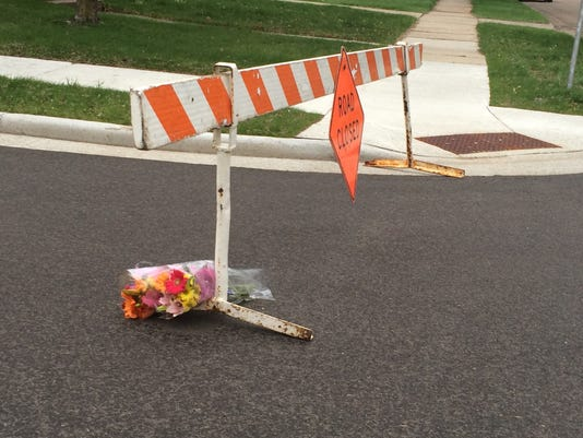 Flowers left at shooting scene