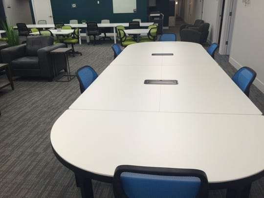 This is part of the large, open space at Endeavor Innovative Workspaces.