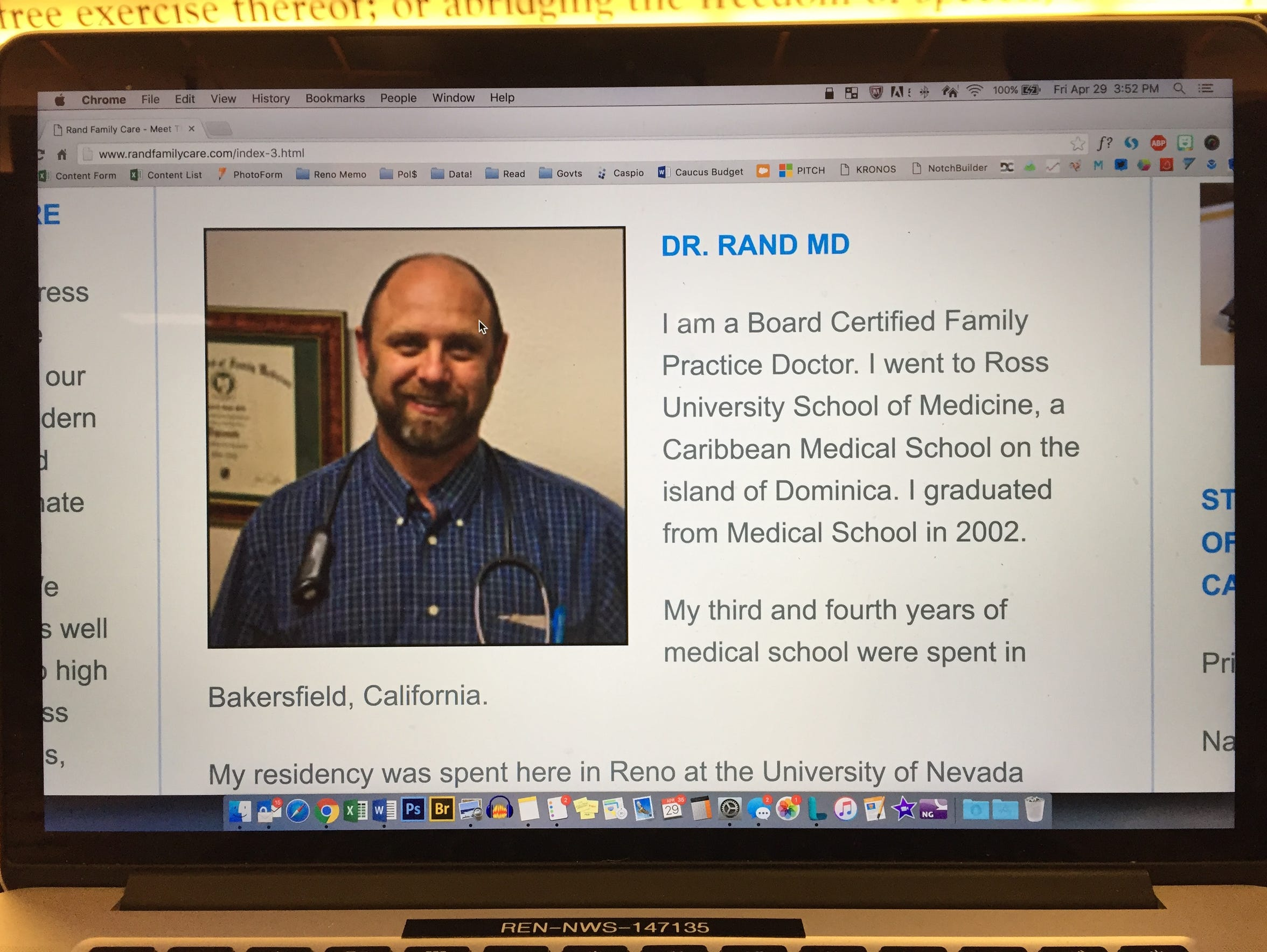 Photo of of Dr. Robert Rand's biography on his website.