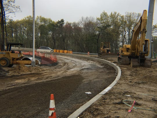 Construction continues on a new entrance/exit ramp,