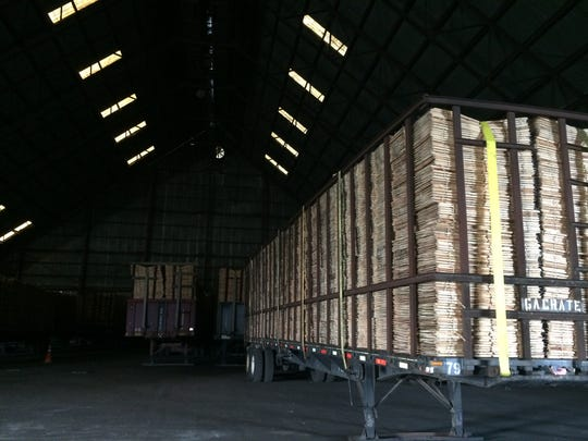 A warehouse at the Weekley Brothers Industrial Park stores corn crates.