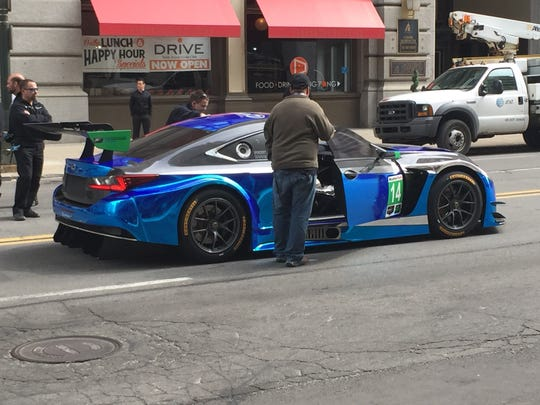 Lexus filmed a commercial on Monday featuring this race car on Fort Street in Detroit.